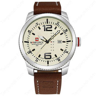 NAVIFORCE Silver Plating Case Light Brown Leather Strap Seiko Quartz Male's Watches TW027-NF9063SBBN
