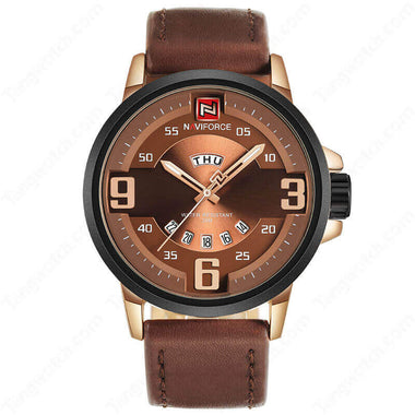 NAVIFORCE Alloy Case Black Leather Strap Rose Golden Dial Fashion Men's Watches TW027-NF9086RGCE