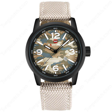 NAVIFORCE Black Plating Case Camouflage Dial 30m Waterproof Fashion Men's Watches TW027-NF9080BYY
