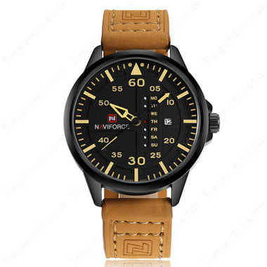 NAVIFORCE Black Plating Case  Brown Leather Strap Black Dial With Date Men's Watches TW027-NF9074BYBN