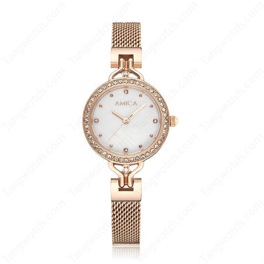 AMICA Stainless Steel Case Rose Golden Band Quartz Ladies Watches TW015-2470-3