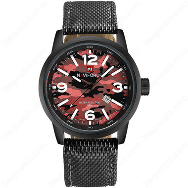NAVIFORCE Black Plating Case  Red Camouflage Dial 30m Waterproof Fashion Men's Watches TW027-NF9080BRB