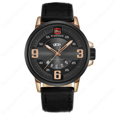 NAVIFORCE Alloy Case Black Leather Strap Rose Golden Digital Casual Men's Watches TW027-NF9086RGB