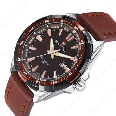 NAVIFORCE Alloy Case  Brown Leather Strap Miyota 2315 Quartz Casual Male's Watches TW027-NF9056MBCE