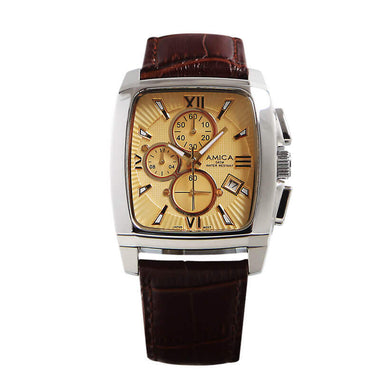 AMICA Luxury Top Brand Men's Golden Dial Watch Leather Band 30M Waterproof TW015-2403L-1
