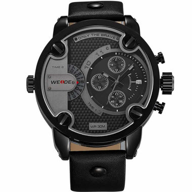 WEIDE Watch 30M Waterproof Leather Oversized Big Dial Watches For Men TW001-WH3301B-1C