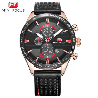 MINI FOCUS Alloy Case Genuine Leather Chronograph Men's Casual Watches TW032-MF0002G