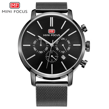 MINI FOCUS Alloy Case Stainless Steel Mesh Band Quartz Chronograph Casual Men's Watches TW032-MF0023G