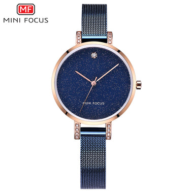 Mini Focus Lady's Mesh Belt Stainless Steel Band Crystal Dress Watches TW032-MG0160L