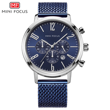 Mini Focus Men Sports Chronograph Mesh Belt Strap Casual Watches TW032-MF0183G