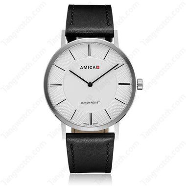AMICA Simple Sytle Stainless Steel Case Leather Band JAPAN Quartz Men Watch TW015-2455-1
