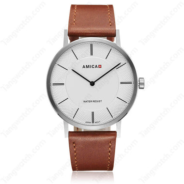 AMICA 2017 Fashion Stainless Steel Case Leather Band Business Men Wristwatch TW015-2455-3
