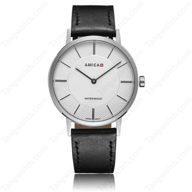 AMICA 2017 Fancy Stainless Steel Case Leather Band JAPAN Quartz ladies Watch TW015-2455-4