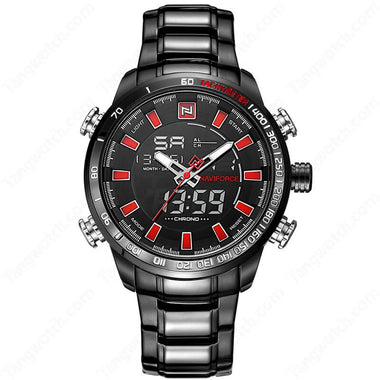 NAVIFORCE Black Case Stainless Steel Band Red Dial Men's Watches TW027-NF9093BBR