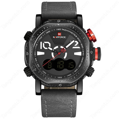 NAVIFORCE Black Plating Case Gray Strap White Digital Sports Men's Watches TW027-NF9094BWGY