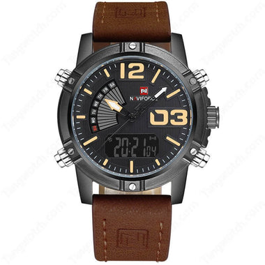 NAVIFORCE Black Plating Case Brown Leather Strap Seiko Quartz Casual Men's Watches TW027-NF9095BYBN