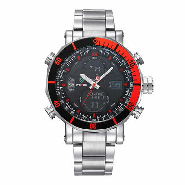 WEIDE Watch Men's Sports Wristwatch Stainless Steel Watch Band Wrist Watch Men Red Color TW001-WH5203-3C