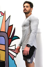 Load image into Gallery viewer, Academy Men's Long Sleeve Shirt With Double Arrow on Chest - Grey Savoy Active