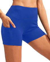 Load image into Gallery viewer, Calcao High Waist Yoga Shorts With Pocket - Blue Savoy Active