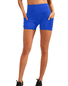 Calcao High Waist Yoga Shorts With Pocket - Blue Savoy Active