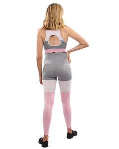 Graca Seamless Leggings & Sports Bra Set - Grey With Pink & White Savoy Active