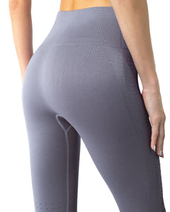 Mesh Seamless Legging With Ribbing Detail - Grey Purple Savoy Active