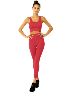 Mesh Seamless Legging With Ribbing Detail - Red Savoy Active