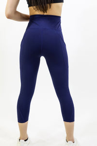 Navy Blue High Waisted Yoga Capri Leggings Savoy Active