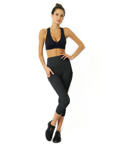 Slate Grey High Waisted Capri Savoy Active