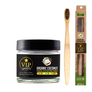 Organic Coconut Charcoal Teeth Whitening  Powder and Toothbrush Combo
