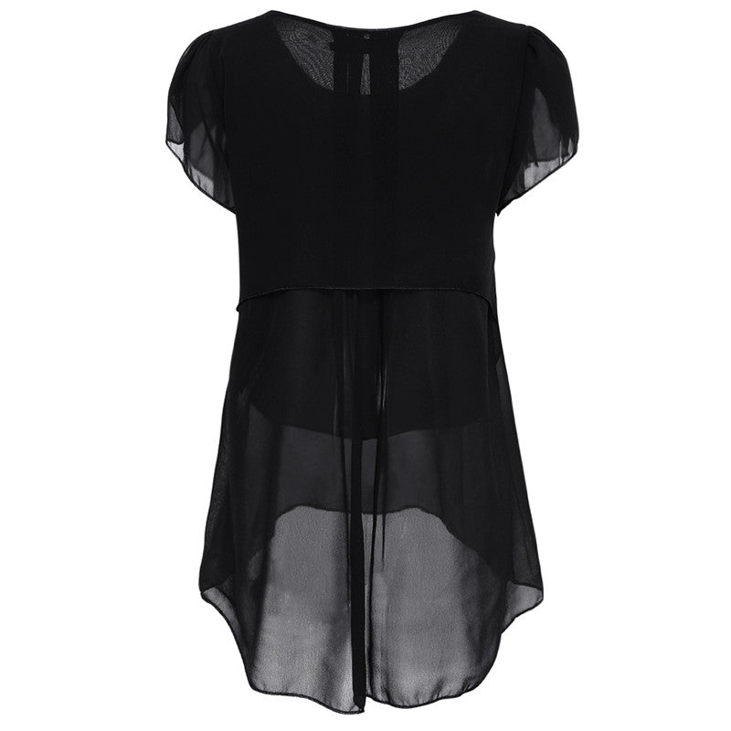 Black Blouse with Short Sleeves