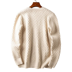 Rhomboid Pattern Knitted Sweatshirt
