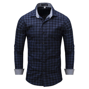 Pologize™ Dark Blue Checkered Shirt
