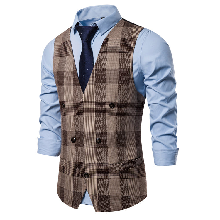 Pologize™ Elegant Double-Breasted Plaid Vest