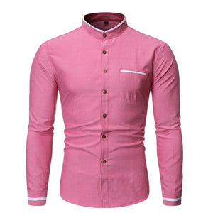 Pologize™ Casual Mandarin Collar Long Sleeve Shirt