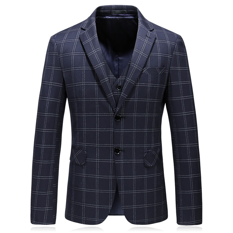 Pologize™ 3 Piece Navy Blue Plaid Suit