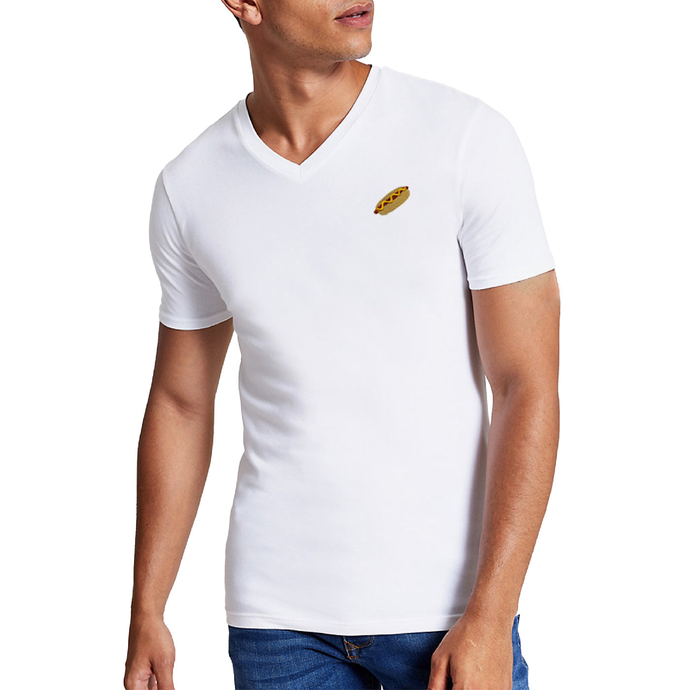 Pologize™ Hot Dog Embroidered V-Neck T-Shirt