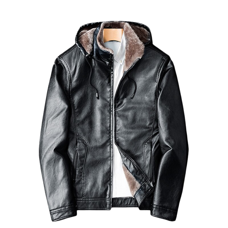 Pologize™ Hooded Warm Leather Jacket