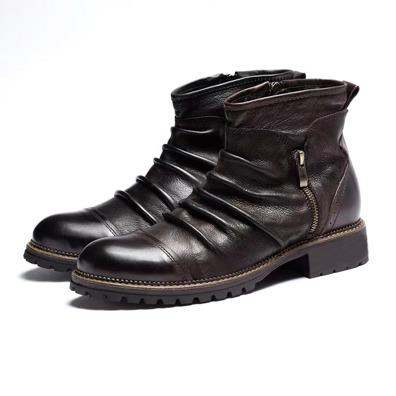 Pologize™ Wrinkled Leather Boots