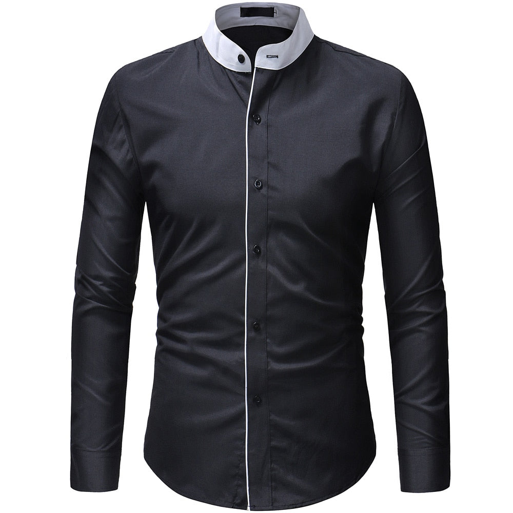 Pologize™ Mandarin Collar Long Sleeve Shirt