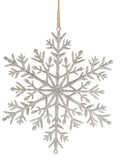 Hanging Decoration - 210mm Eco Woodfibre Snow Flake, Silver or White