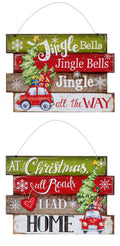 Christmas Decoration - Jingle - Home Wall Plaques 2 Assorted 18x25cm
