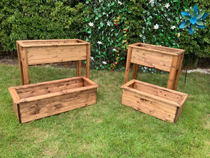 Wooden trough planters