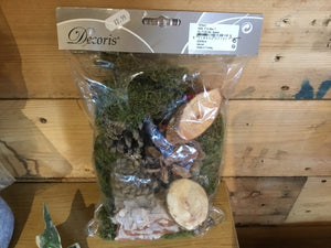 Bag of Natural Mix of Moss, Cones Berries  and Wood Slices