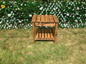 English made solid wood garden side table