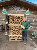 Kiln dried birch logs 1.95m3 hand stacked pallet