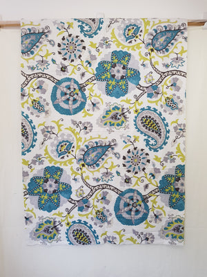 Silsila - Teal/Lime (Weave) (96x132cm) - Lori's Fabrics & Quilts