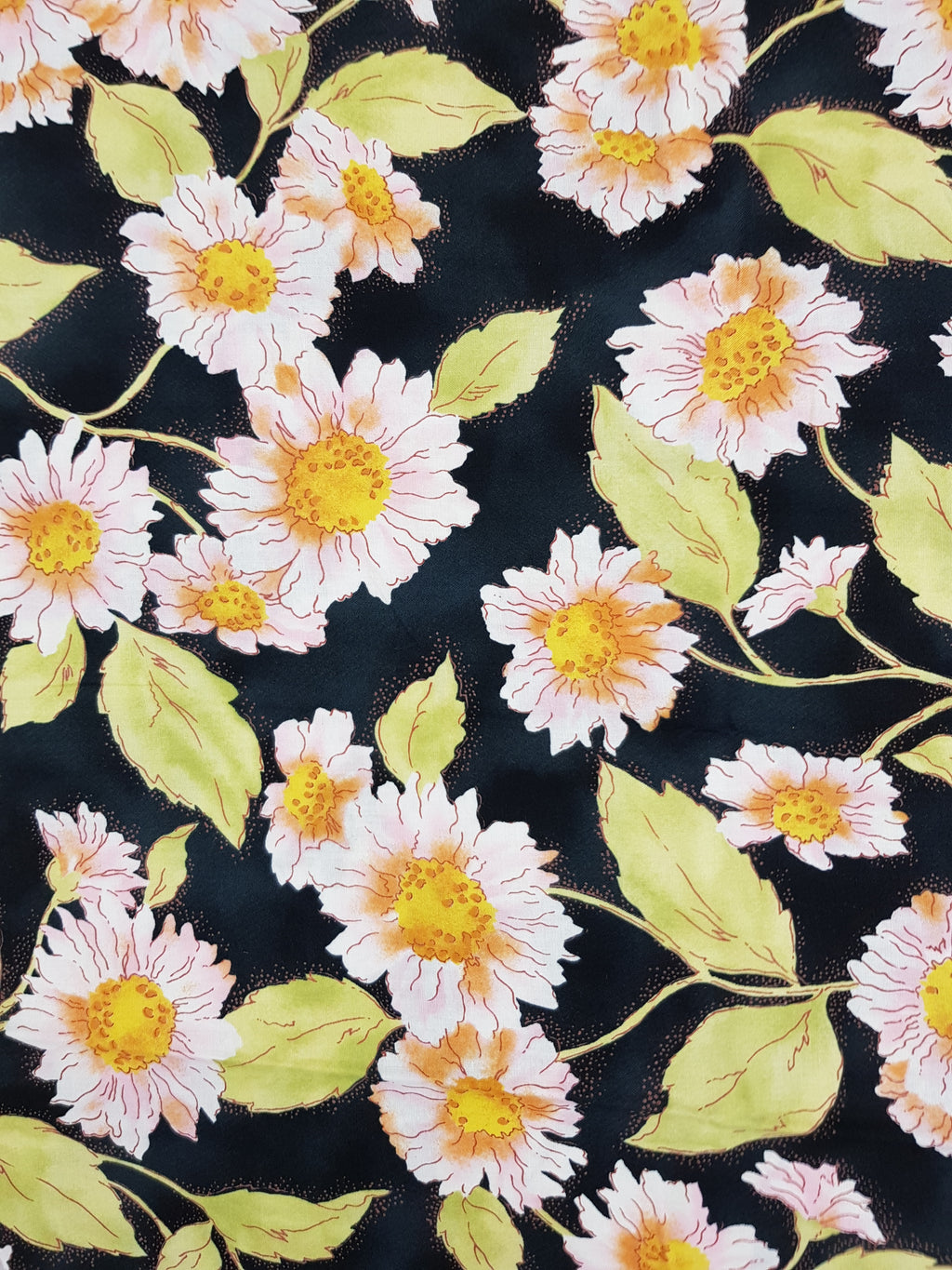 Large Apricot/Yellow Flowers on Black (39x42cm) - Lori's Fabrics & Quilts