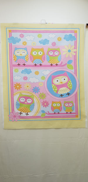 Pink & Yellow Owl Cot Panel (110x90cm) - Lori's Fabrics & Quilts
