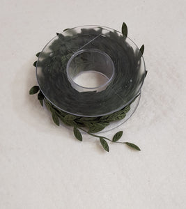Leaf Embellishment Ribbon 30mm- Dark Green (100cm length) - Lori's Fabrics & Quilts